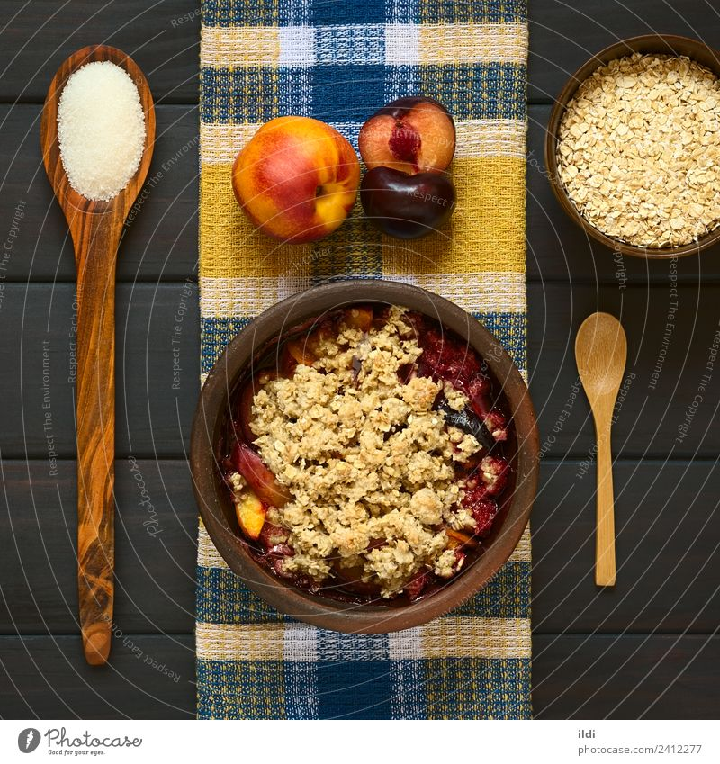 Baked Plum and Nectarine Crumble Dish Fruit Fresh Dessert Meal Sugar Rustic Snack Baking Crust Peach Crisp Home-made Rolled Pudding