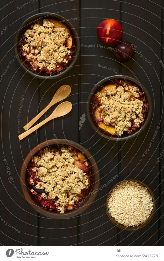 Baked Plum and Nectarine Crumble Dish Fruit Sweet Dessert Meal Sugar Vertical Rustic Snack Baking Crust Peach Crisp Home-made Rolled
