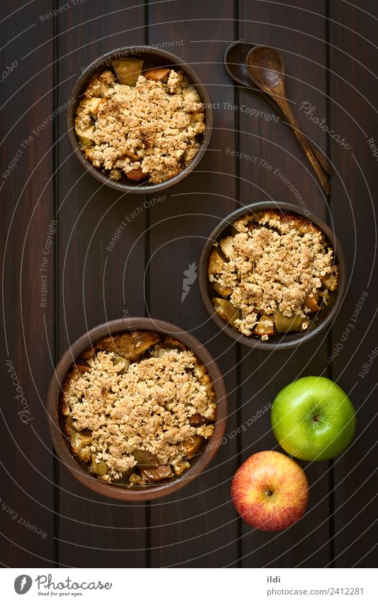 Baked Apple Crumble Fruit Dessert Fresh crumble Crisp cobbler sweet food Dish Meal Snack Crust Baking Home-made oat oatmeal Rolled crumbly Sugar Crunchy Rustic