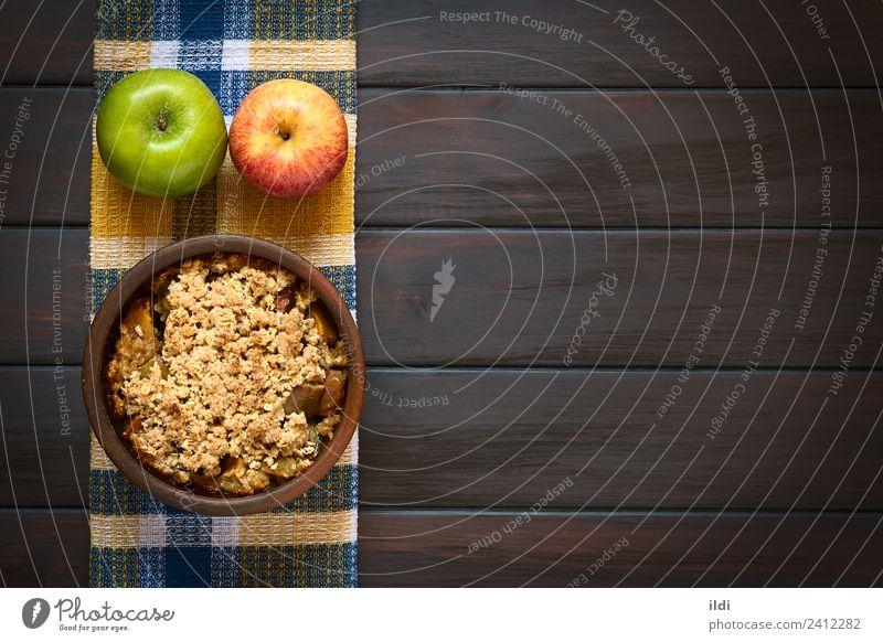 Baked Apple Crumble Dish Fruit Fresh Dessert Meal Sugar Horizontal Rustic Snack Baking Crunchy Crust Crisp Home-made Rolled