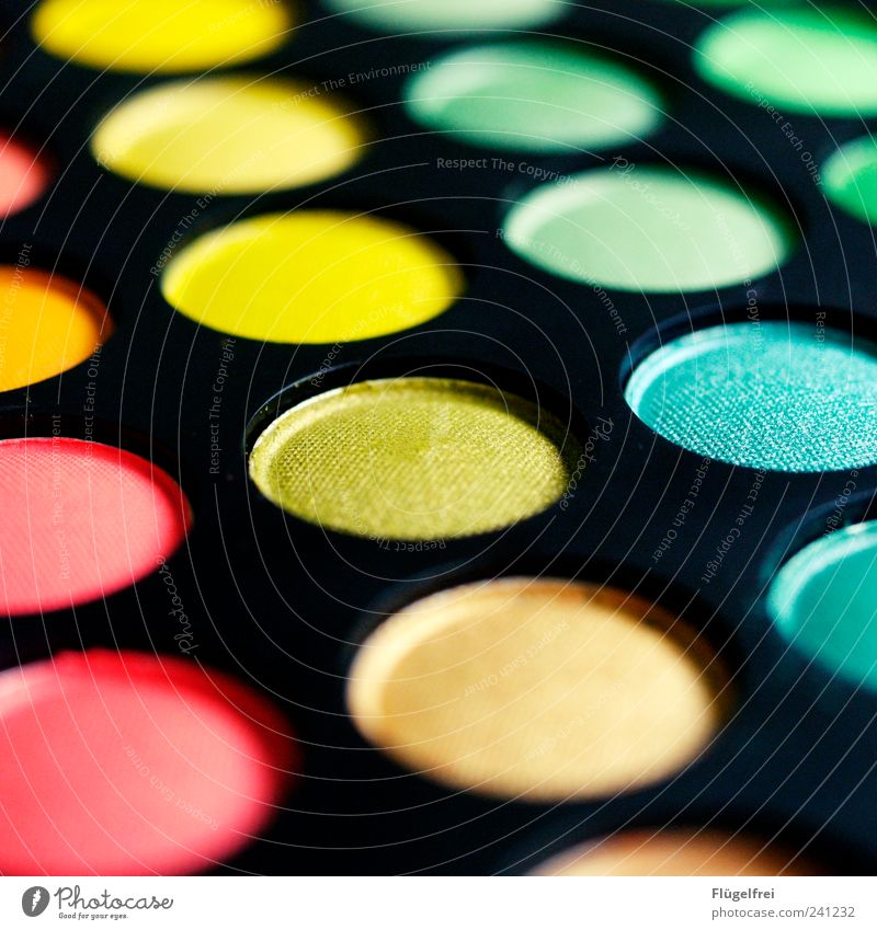 Green Yellow Circle Round Cosmetics Make-up Geometry Symmetry Patch of colour Circular Play of colours Colour tone RGB Colour spectrum CMYK Prismatic colors