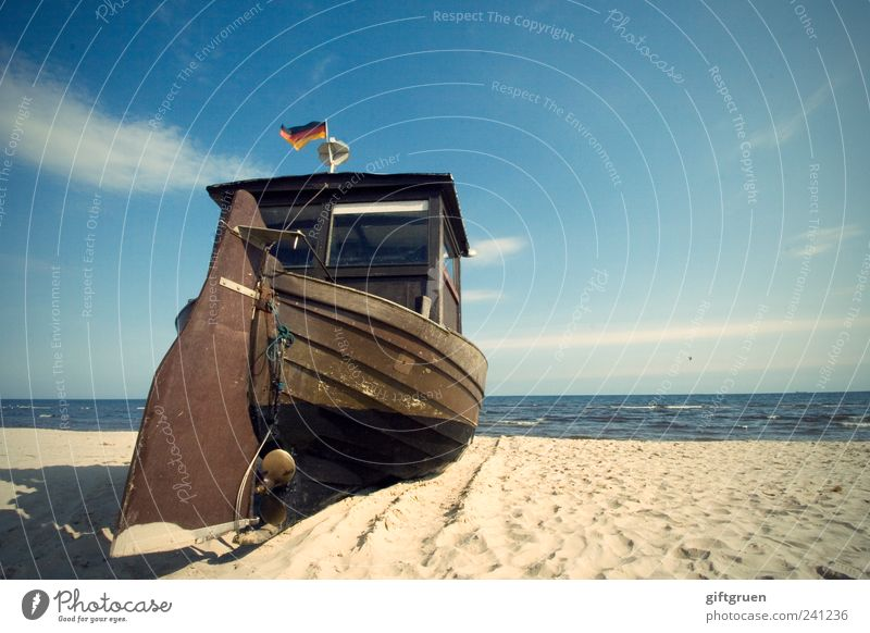 Fisherman's Friend Environment Nature Landscape Elements Sand Water Sky Horizon Summer Weather Beautiful weather Waves Coast Beach Baltic Sea Old Watercraft