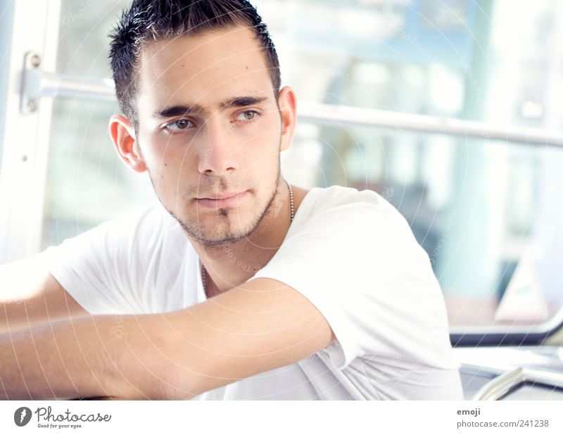tram Masculine Young man Youth (Young adults) 1 Human being 18 - 30 years Adults Bright Beautiful White Tram Bus Railroad Designer stubble Colour photo