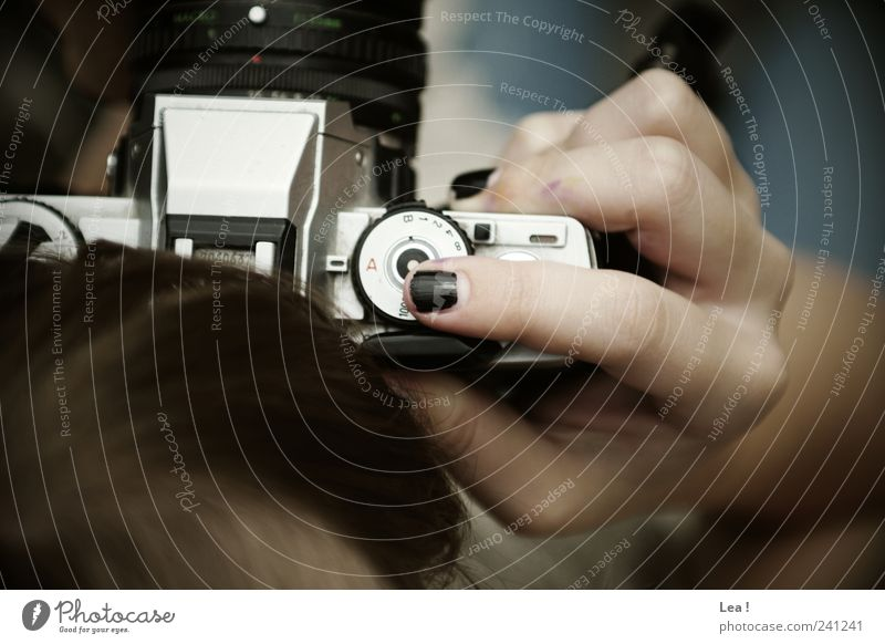 Human being Hand Feminine Hair and hairstyles Modern Retro Observe Curiosity Creativity Camera Catch Take a photo Nail polish