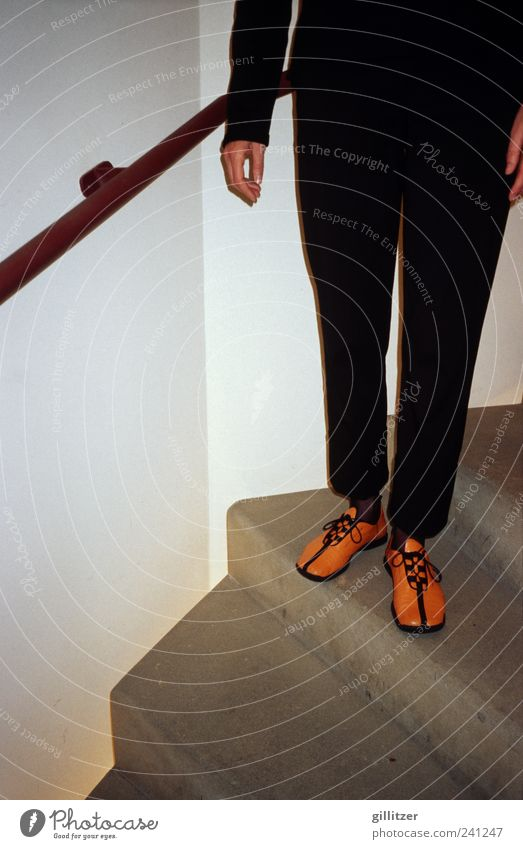 Human being Black Legs Footwear Stairs Arrangement Design Modern Stand Uniqueness Creativity Handrail Pants Pride Anonymous Accuracy