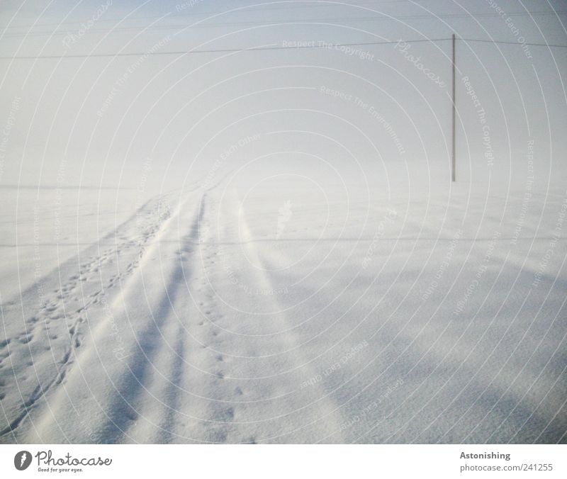Nature Sky White Blue Winter Cold Lanes & trails Fog Environment Stand Tracks Electricity pylon High voltage power line Ambiguous Bad weather