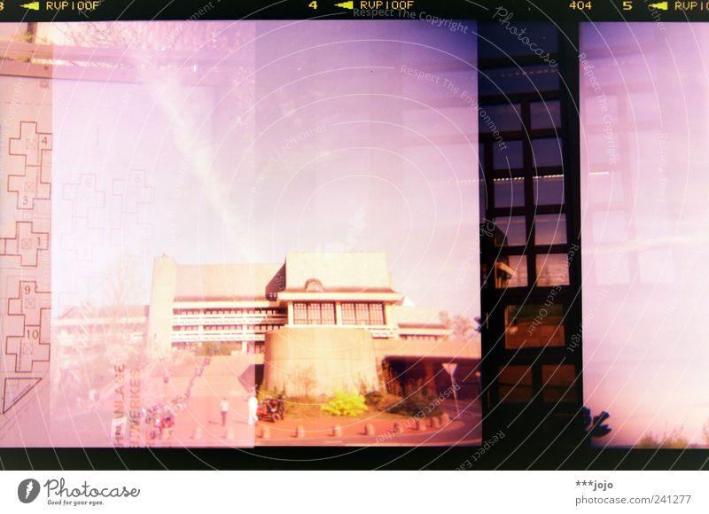 City House (Residential Structure) Window Architecture Pink Stairs Concrete Modern Retro Digits and numbers Violet Manmade structures Analog Double exposure