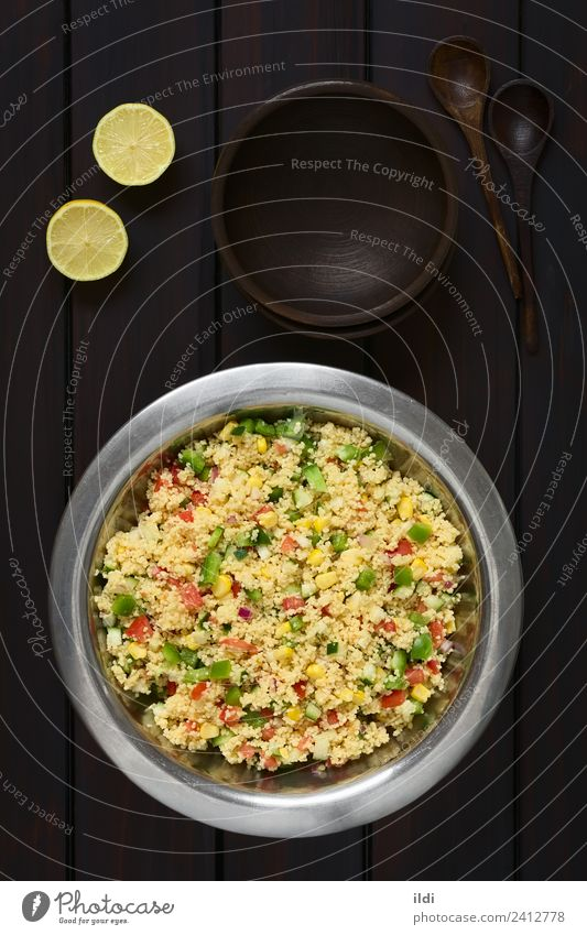 Vegetable and Couscous Salad Dish Healthy Meal Vegetarian diet Tomato Vertical Rustic Raw Wheat Snack Onion Semolina