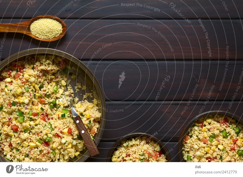 Vegetable and Couscous Salad Vegetarian diet Fresh Healthy food couscous Raw Tomato pepper Onion corn cucumber Dish Meal Staple Semolina durum Wheat Snack