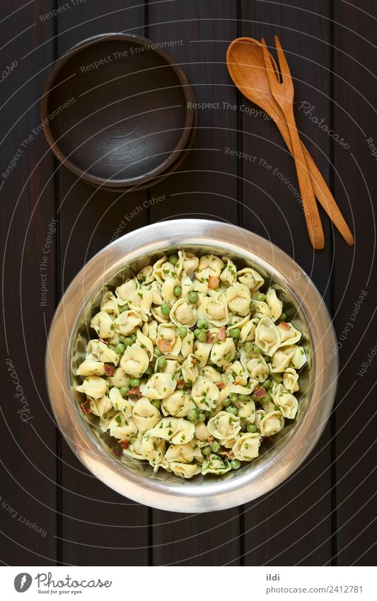 Tortellini Salad with Peas and Bacon Meat Vegetable Dough Baked goods Fresh pasta filled stuffed Parsley food Meal Dish Italian cooking tortelloni Rustic wood