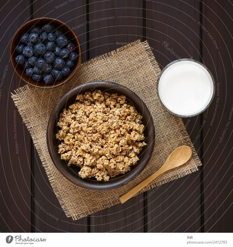 Breakfast Cereal with Blueberries and Milk Fruit Sweet food oatmeal Rolled Berries Blueberry dry sweetened healthy Meal Dish Snack glass Rustic fiber drink