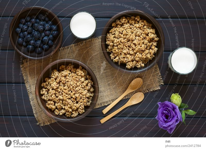 Breakfast Cereal with Blueberries and Milk Fruit Sweet food oatmeal Rolled Berries Blueberry dry sweetened healthy Meal Dish Snack glass Rustic fiber Dairy