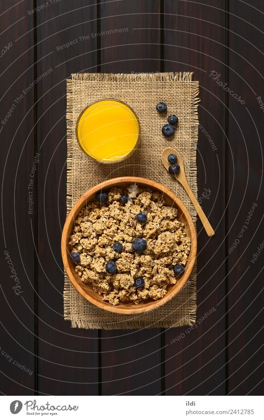 Breakfast Cereal with Blueberries Fruit Juice Sweet food oatmeal Rolled Berries Blueberry sweetened healthy Meal Dish Snack glass Rustic fiber Raw drink wood