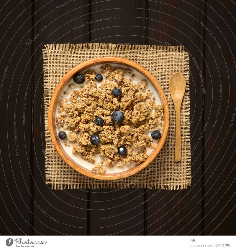 Breakfast Cereal with Blueberries and Milk Fruit Fresh food oatmeal Rolled Berries Blueberry dry sweet sweetened healthy Meal Dish Snack milk Rustic fiber Dairy