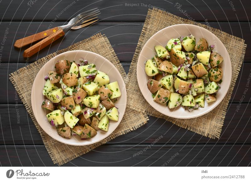 Potato Salad with Red Onion and Herbs Dish Fresh Herbs and spices Vegetable Meal Vegetarian diet Side Horizontal Cut Vegan diet Snack Potatoes Chives Parsley