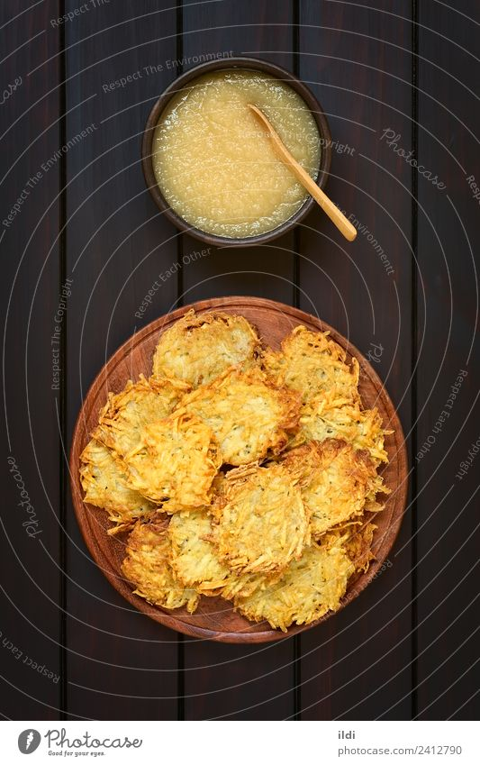 Potato Pancake or Fritter with Apple Sauce Dish Fruit Fresh Vegetable Meal Vegetarian diet Vertical Rustic Snack Home-made Compote