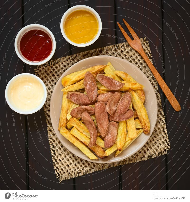 Salchipapas (Fries with Sausage) South American Fast Food Meat Fast food Fresh fast salchipapas French fries frites chips Meal Dish Snack salchicha Latin