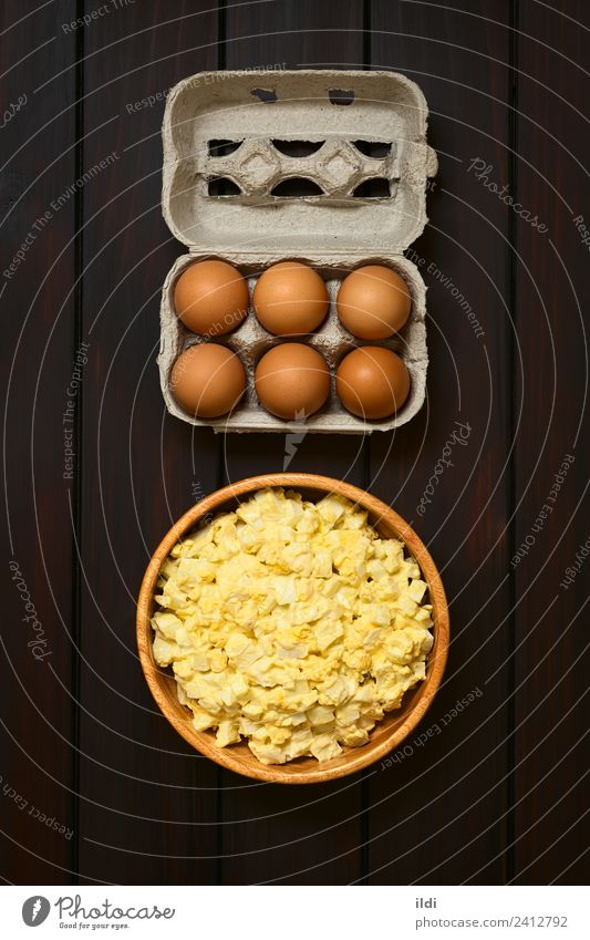 Egg Salad Breakfast Fresh food egg Mayonnaise mustard condiment Cut Home-made Ingredients Cooking Raw box Carton Meal Dish Snack healthy Protein Rustic overhead