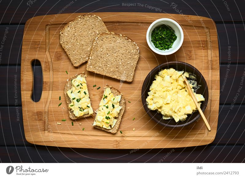Egg Salad Sandwich Dish Open Fresh Cooking Breakfast Bread Meal Slice Horizontal Cut Rustic Snack Chives Protein