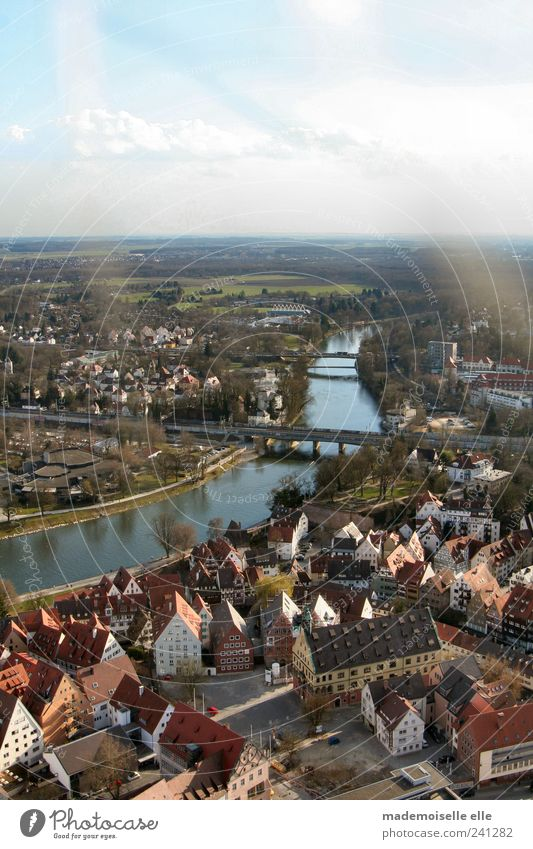 endless Tourism Trip Far-off places City trip Nature Landscape Water Sky Clouds Summer Beautiful weather River bank Ulm Small Town House (Residential Structure)