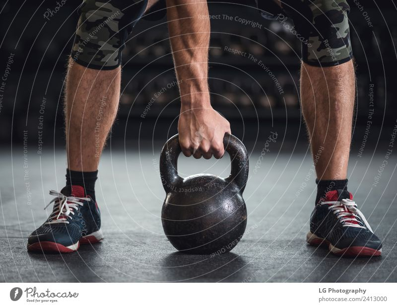 db5e3cb68a5f9 Man Kettle bell workout Human being Lifestyle Adults Sports Copy Space Gray  Power Action Authentic Fitness
