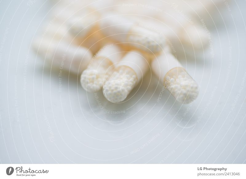 Pills and capsules close up Green White Group Herbs and spices Illness Medication Pain Science & Research Bottle Vitamin Hospital Conceptual design