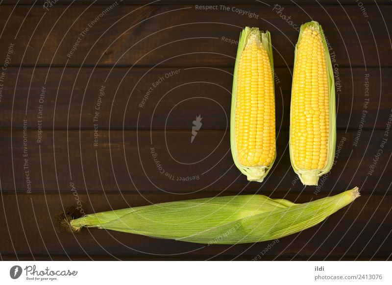 Cobs of Sweet Corn Vegetable Fresh Healthy corn Maize sweet pole Sugar husk Silk cob food Ingredients Raw Staple overhead wood three husked copy space