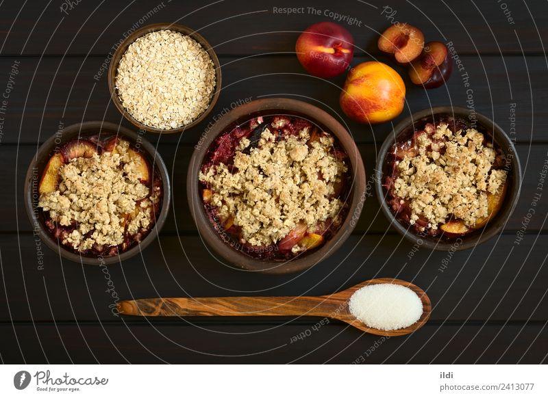 Baked Plum and Nectarine Crumble Dish Fruit Sweet Breakfast Dessert Meal Sugar Horizontal Rustic Snack Baking Crust Peach Crisp Rolled