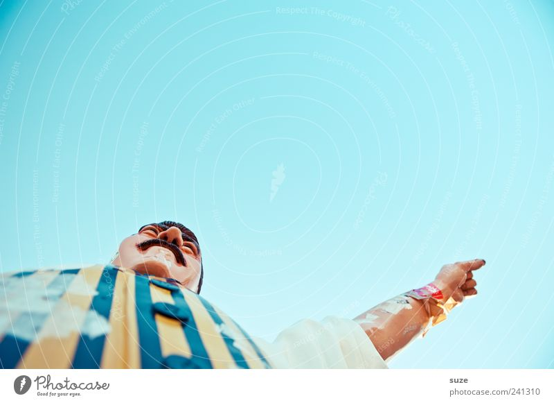 Sky Man Head Funny Arm Nose Decoration Stripe Shirt Fat Indicate Direction Figure Superior Decide Moustache