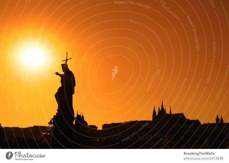 Sunset silhouettes of skyline at Charles Bridge in Prague Vacation & Travel Tourism Sightseeing City trip Town Old town Skyline Church Dome Places Building
