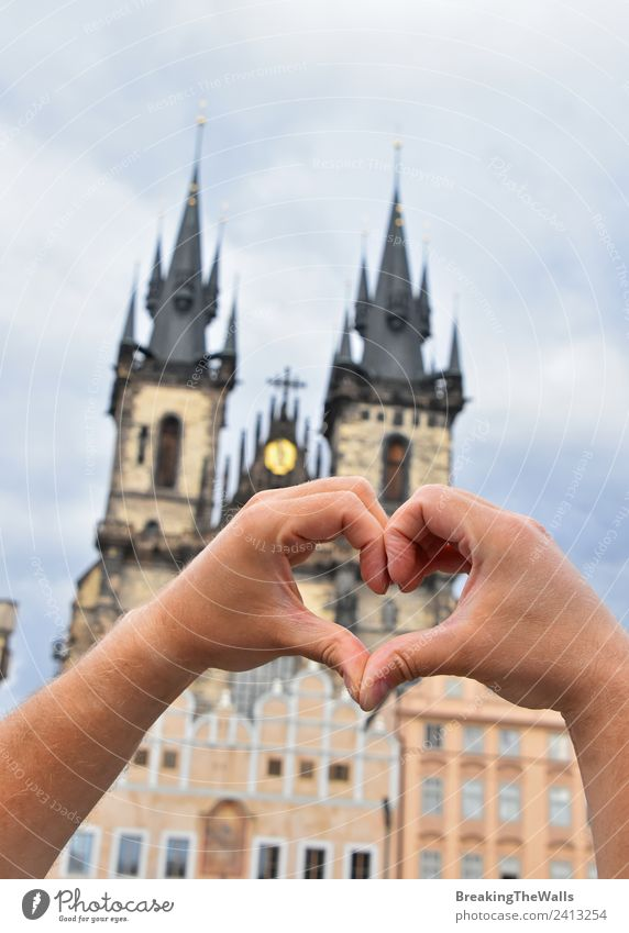 Man hands with heart shape symbol over Prague cityscape Vacation & Travel Tourism Adventure Sightseeing City trip Adults Hand Sky Town