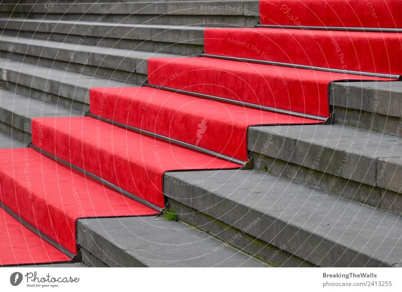 Close up red carpet over grey concrete stairs Design Feasts & Celebrations Manmade structures Building Architecture Stairs Stone Concrete Gray Red Perspective