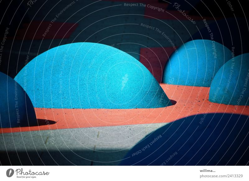 The Earth's surface is blowing bubbles! | false report Playground Climbing Mountaineering Art Sculpture Chemnitz Stone Round Blue Whimsical Floor covering