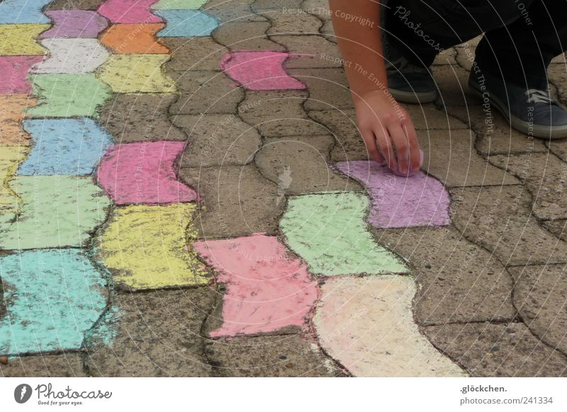 street performer Hand Feet Street street-painting chalk Stone Draw Sharp-edged Happiness Passion Infancy Colour photo Multicoloured Exterior shot Pattern Day