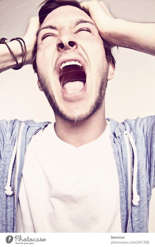 Human being Man Youth (Young adults) Joy Happy Laughter Open Mouth 18 - 30 years Crazy Teeth Anger Scream Whimsical Evil Frustration