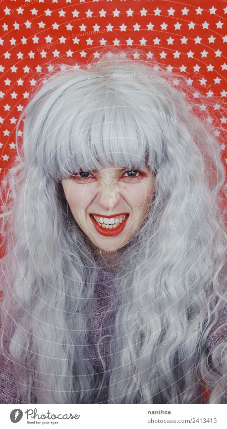 Young and crazy woman with gray hair Style Design Feasts & Celebrations Carnival Hallowe'en Human being Feminine Young woman Youth (Young adults) 1