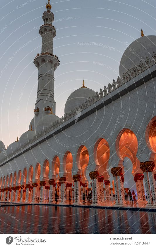 Outside Sheikh Zayid Mosque Abu Dhabi at sunset Vacation & Travel Tourism Trip Far-off places Sightseeing City trip Summer Sun Architecture United Arab Emirates