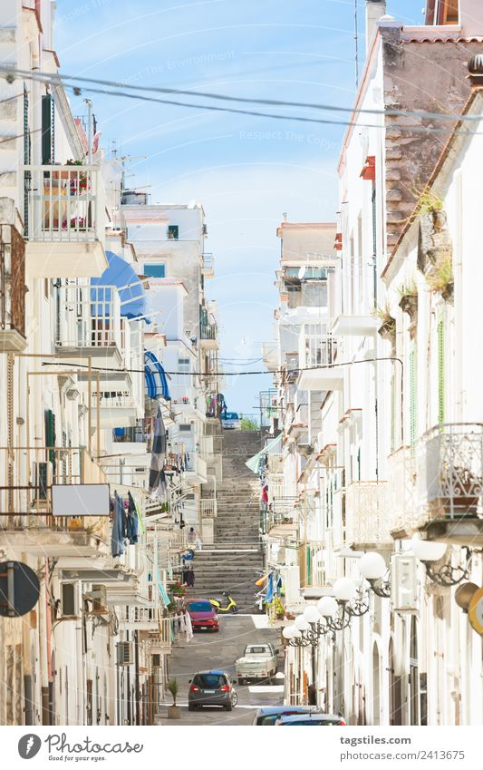 Vieste, Apulia - Balconies and facades of the old town Alley Architecture Balcony Building Calm Motor vehicle City Facade Fishing village Historic Old town