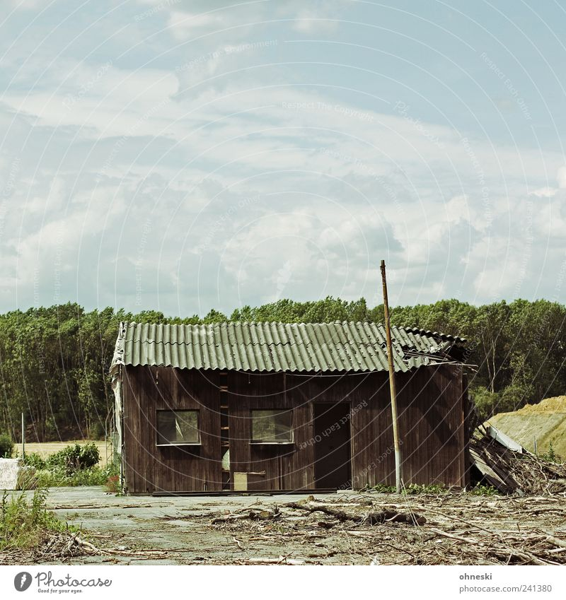 Old Sky House (Residential Structure) Clouds Window Wood Facade Broken Transience Decline Hut Ruin