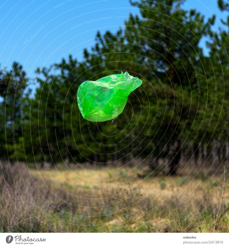 garbage bag flies Summer Environment Nature Landscape Wind Tree Forest Plastic packaging Sack Flying Natural Clean Blue Green Environmental pollution