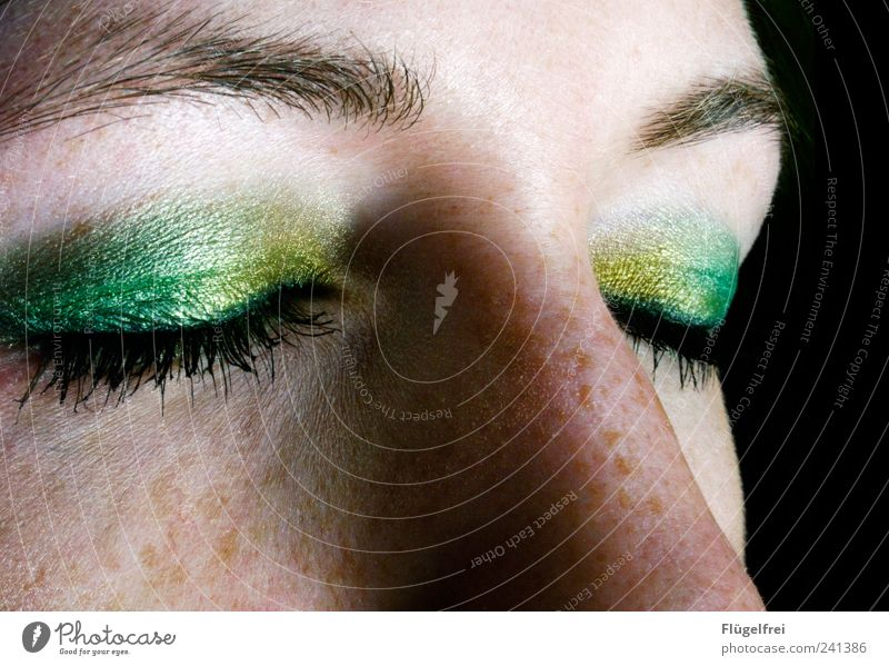 puffin Feminine Woman Adults Face Eyes 1 Human being 18 - 30 years Youth (Young adults) Looking Green Yellow Nose Beauty Photography Cosmetics Eye shadow