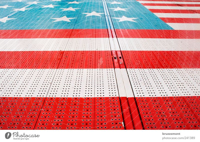 America on the ground Style Vacation & Travel Metal Blue Red White Fairs & Carnivals Ground Carousel American Flag Colour photo Exterior shot Day Pattern