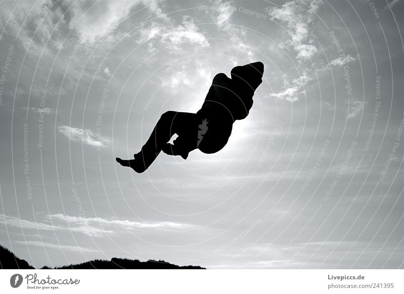 da jump Joy Leisure and hobbies Sun Human being Masculine Man Adults 1 To fall Flying Jump Broken Speed Athletic Black Happy Serene Black & white photo
