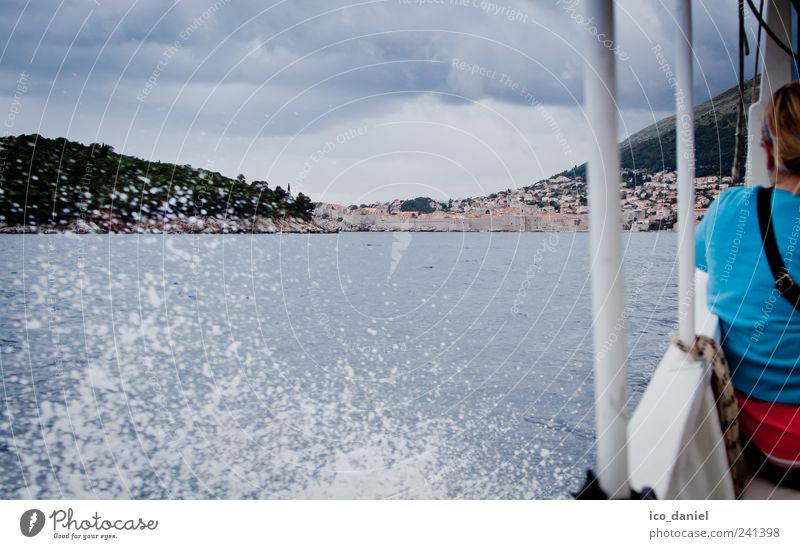 ...water taxi to dubrovnik... Vacation & Travel Tourism Trip Adventure Human being 1 Clouds Storm clouds Weather Bad weather Wind Bay Ocean Dubrovnik Croatia