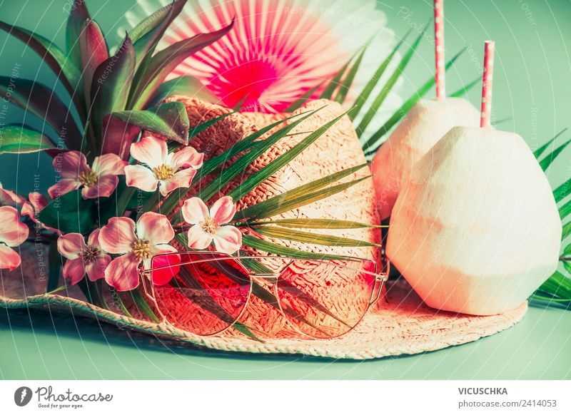 Vacation & Travel Summer Flower Beach Style Tourism Party Pink Design Beverage Summer vacation Hat Sunglasses Summery Cold drink Cocktail