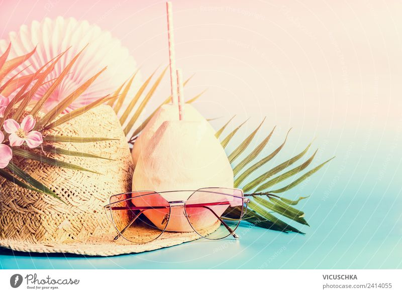 Summer Beach Party Beverage Cold drink Longdrink Cocktail Style Design Joy Vacation & Travel Decoration Peace Straw hat Sunglasses Coconut Palm frond Flower
