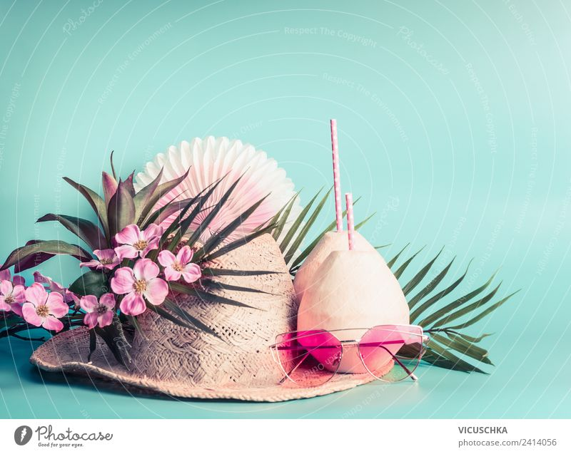 straw hat, coconut drinks, sunglasses and palm leaves Beverage Longdrink Cocktail Lifestyle Design Vacation & Travel Adventure Summer Beach Sunglasses Hat