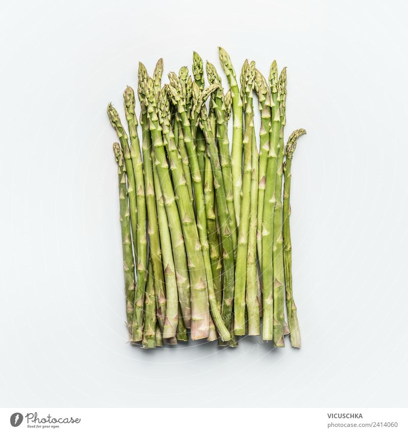 Green asparagus bunch on white Food Vegetable Nutrition Organic produce Vegetarian diet Diet Style Design Healthy Healthy Eating Nature Asparagus