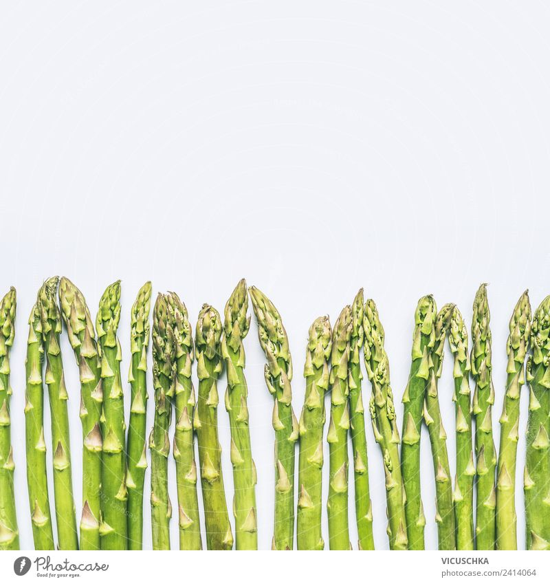 Green asparagus on white Food Vegetable Nutrition Organic produce Vegetarian diet Diet Style Design Healthy Healthy Eating Restaurant Nature Asparagus