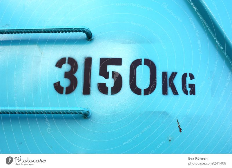 3150 kg container Construction site Logistics Container Steel Build Firm Gigantic Cold Near Blue Black Stress Colour Accuracy Power Kilogram Unit of measurement